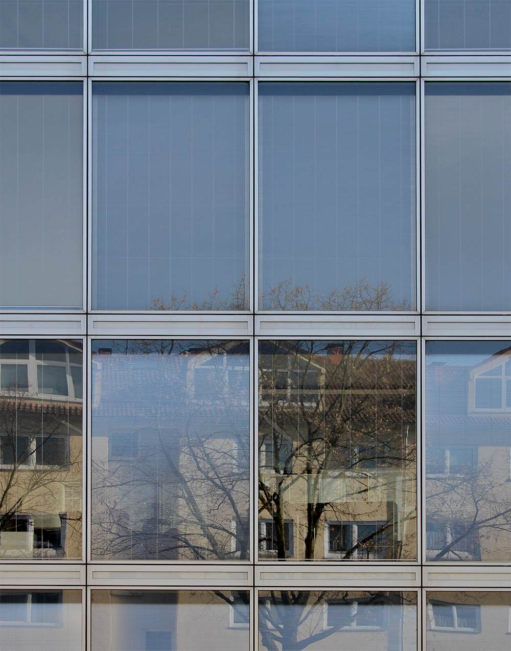 Ansicht Elementfassade mit Lüftungsklappen